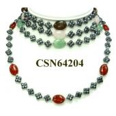 Colored Semi precious Stone Hematite Club Beads Chain Choker Fashion Necklace